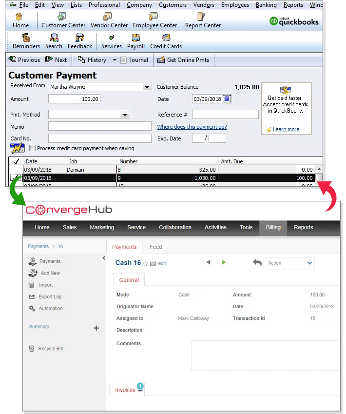 ConvergeHub integrates with QuickBooks Desktop