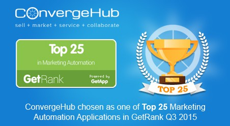 ConvergeHub chosen as one of Top 25 Marketing Automation Applications in GetRank Q3 2015